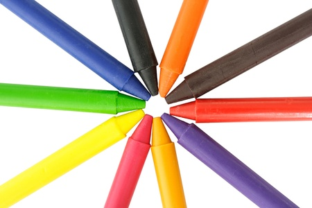 Wax crayons on white background photo