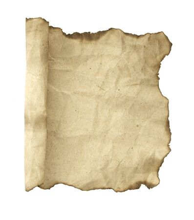 burnt wood: Old paper scroll. Isolated on white background