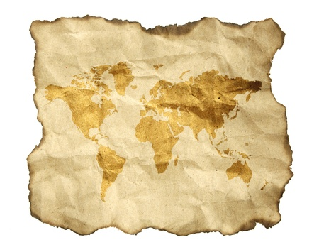 tattered: ancient map, isolated on a white background Stock Photo