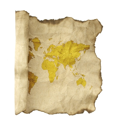 medieval scroll: ancient scroll map, isolated on a white background Stock Photo