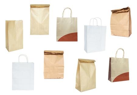 white paper bag: Conjunto de bolsas de papel