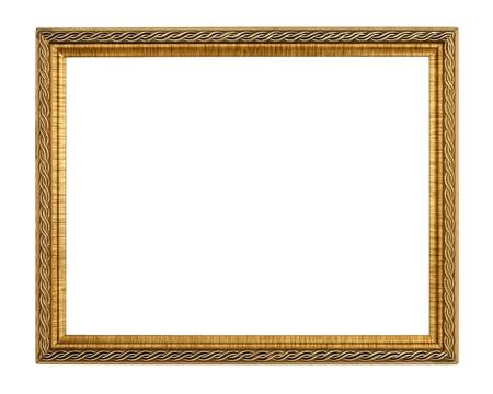 marco madera: Marco de oro sobre fondo blanco Foto de archivo