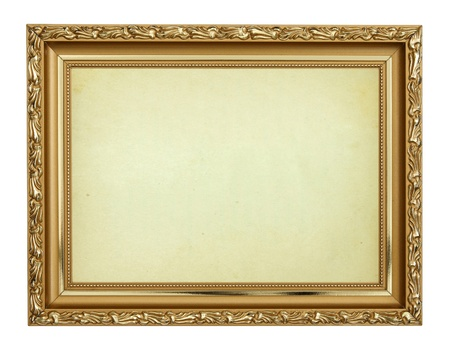 carving: Gold frame on white background