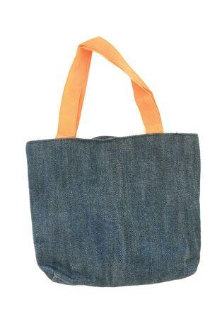 blue fabric bag isolated on white photo