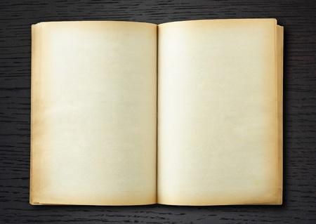 bordure de page: Vieux livre ouvert sur fond de bois sombre