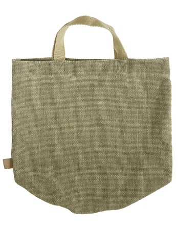 handlers: green shopping fabric bag on white isolated background