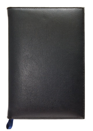 Black leather note book isolated on white background photo