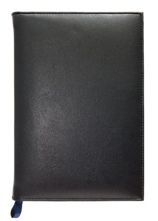 Nota libro in pelle nera isolato su sfondo bianco Archivio Fotografico