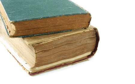 Old Book closeup isolated on white photo
