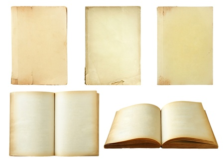 Set of old book isolated on white background photo