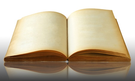 Old book on reflect floor and white background photo