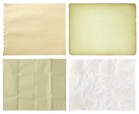set of paper isolated on white background photo