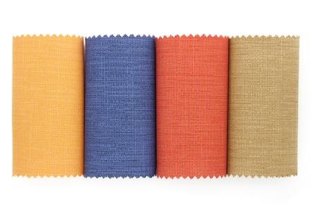 Multicolor tone of fabric sample on white background photo