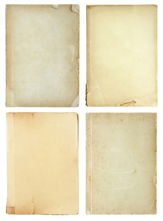 old book cover: set of old book pages isolated on white background