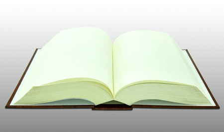 Open blank book on white with clipping path photo