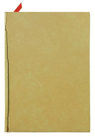 brown old leather book cover isolated on white photo