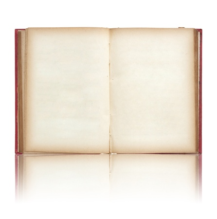 Old book open on reflect floor and white background photo