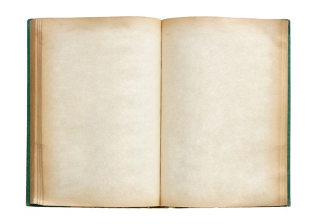 Old book open isolated on white background with clipping path photo
