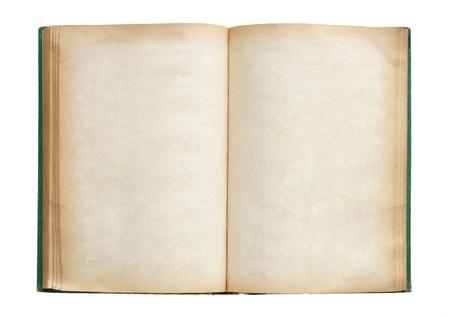 Oud boek geïsoleerd te openen op witte achtergrond met het knippen van weg