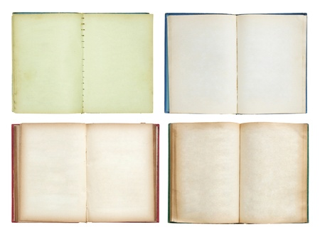 tattered: set of Old book open isolated on white background