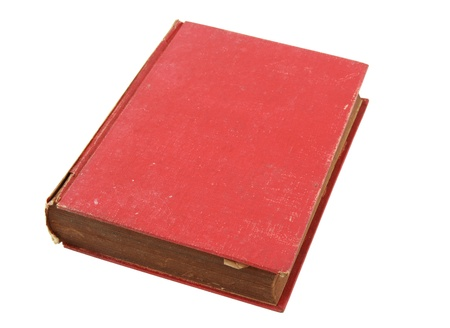 book spine: Old red book isolated over white with clipping path