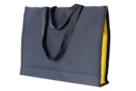 black shopping bag on white background photo