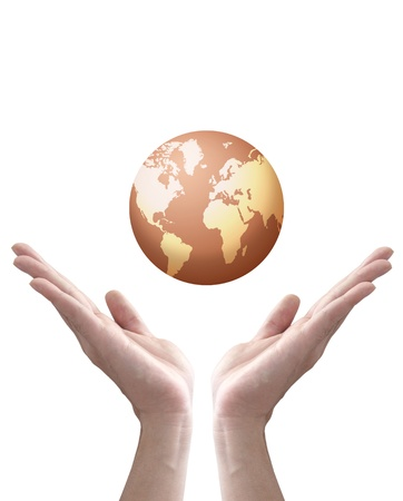 earth globe in hands isolated on white photo