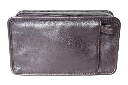black leather bag isolated on white background photo