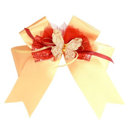 gold gift ribbon and bow photo