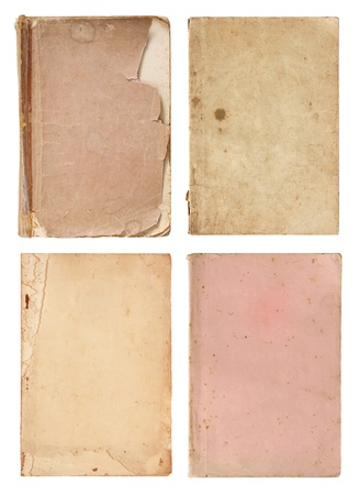 set of old book pages isolated on white background photo