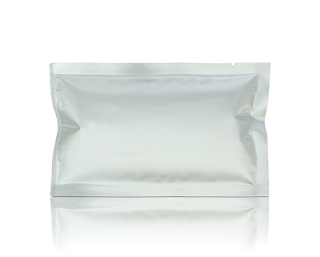 plastic package on reflect floor and white background photo