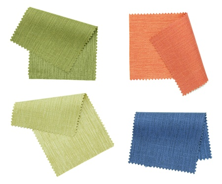 linen fabric: set of color fabric sample isolated on white background