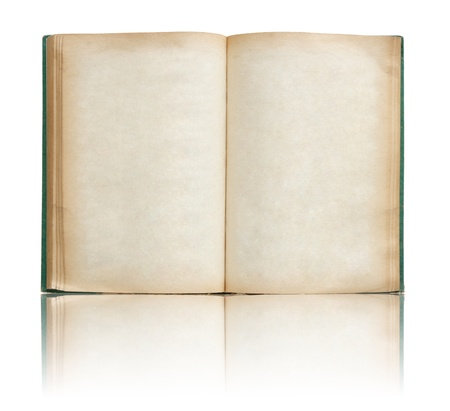 note book: Vecchio libro aperto su riflettere piano e sfondo bianco