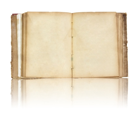 old book: Old book open on reflect floor and white background