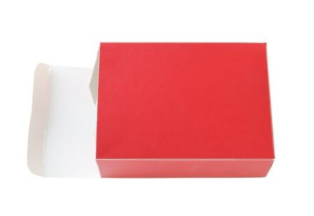 opened red package box isolated on white  Stock Photo - 12646853