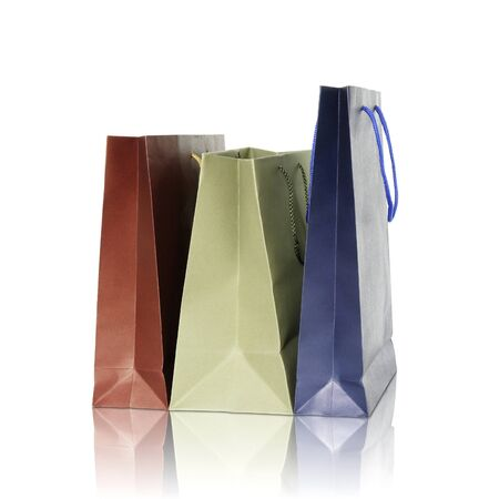 recycle bag: Colorful shopping bags on reflect floor and white background