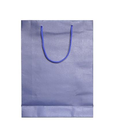 blue shopping bag isolated on white background photo