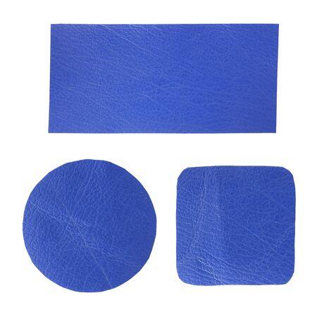 set of blank blue leather label isolated on white photo