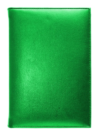 copybook: Green leather note book isolated on white background