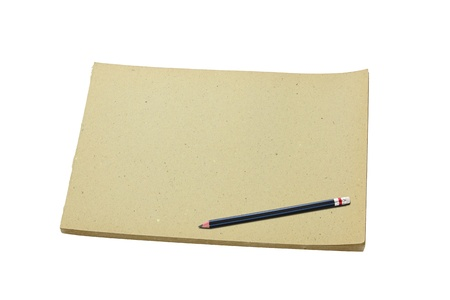 sketchbook: Pencil and old blank sketch book isolated on white background Stock Photo
