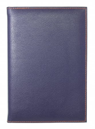 blue leather notebook isolated on white  photo