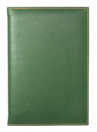 green leather notebook isolated on white  photo