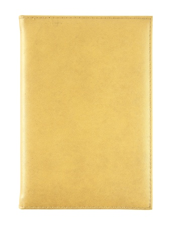 yellow leather notebook isolated on white photo