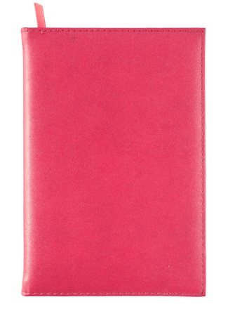 old diary: red leather notebook cover isolated on white