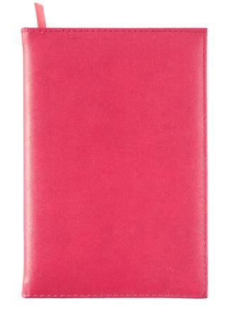 rouge couverture carnet en cuir isolé sur blanc Banque d'images