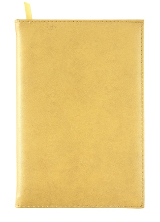 yellow leather notebook cover isolated on white Stock Photo - 14447680