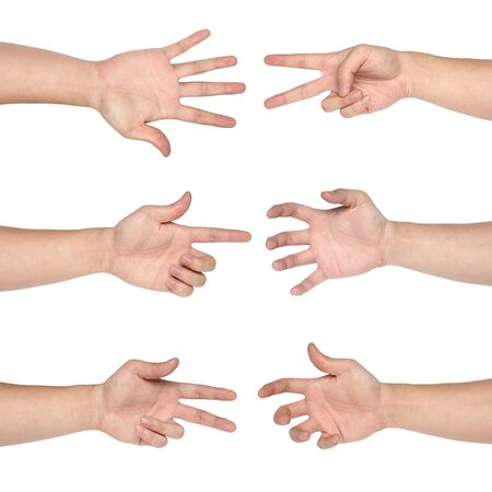 Set of gesturing hands isolated on white background photo