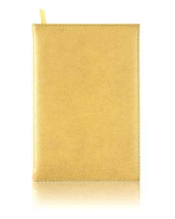 yellow leather notebook cover photo