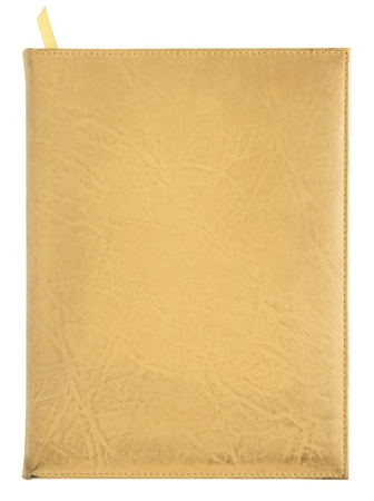 yellow leather notebook cover isolated on white background photo