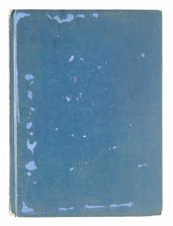 rifts: old blue leather book pages isolated on a white background